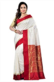 Mayurakshi Women's Tussar Silk Semi Garad Saree - Tant Saree of Bengal (with Blouse Piece - Red & White)