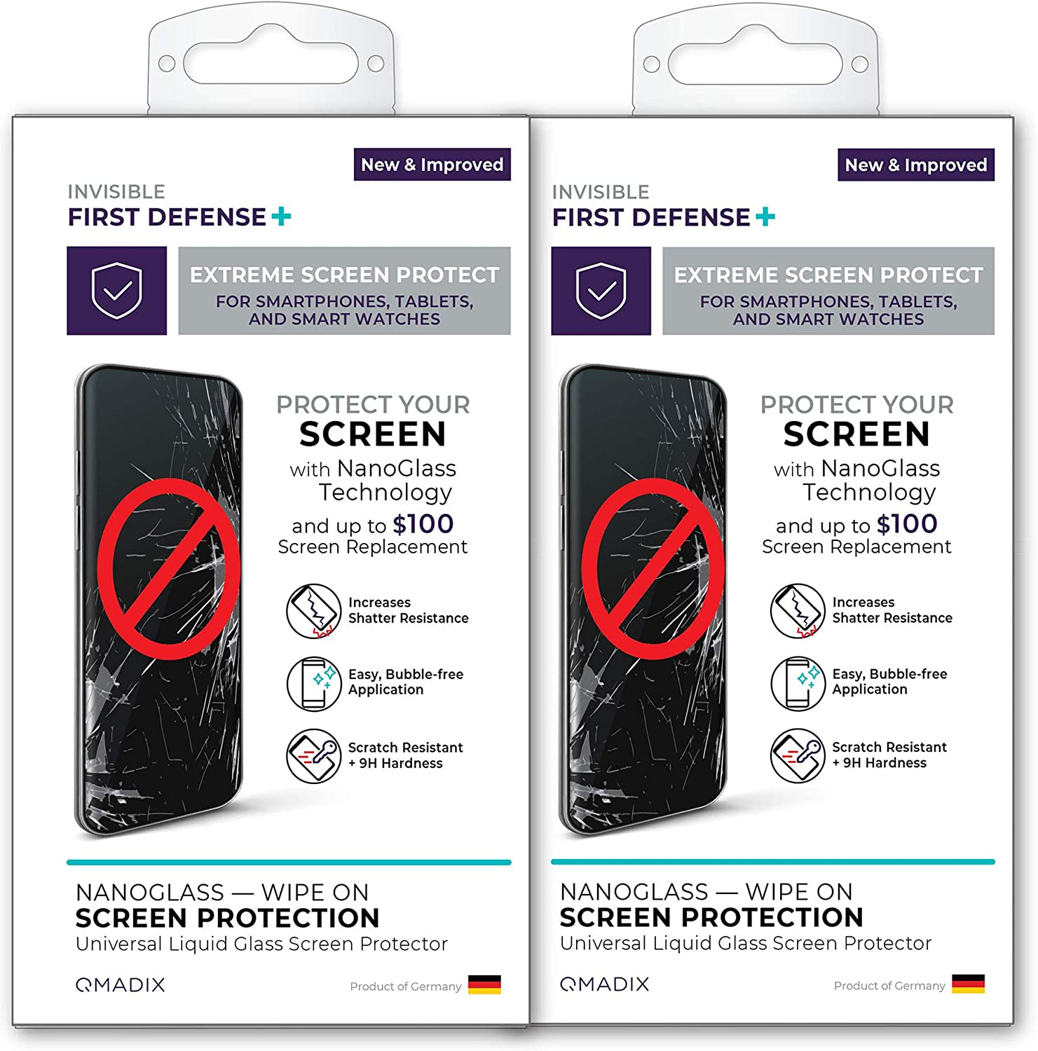 QMADIX 2-Pack $100 - Invisible First Defense NANO Liquid Glass Screen Protector for All Phones Tablets Smart Watches Apple Samsung iPhone iPad Galaxy and Universal