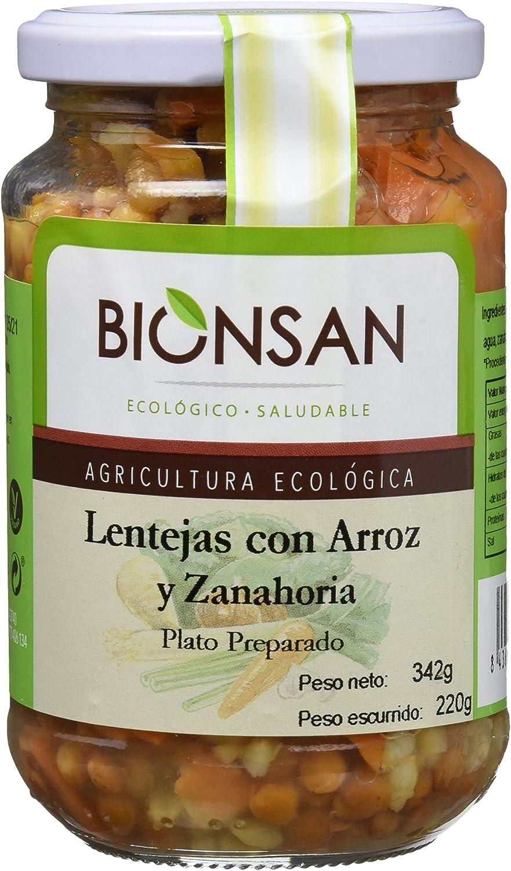 Bionsan Lentejas Cocidas con Arroz Integral y Zanahoria Ecológicas - 6 Botes de 220 gr - Total: 1320 gr