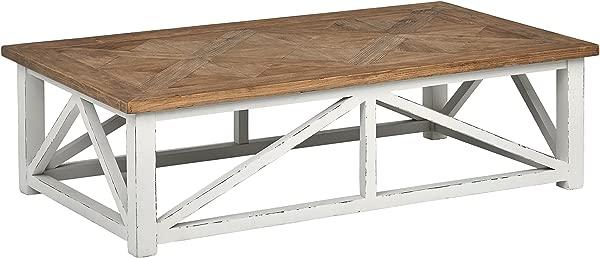 Stone Beam Coastal Breeze Rustic Farmhouse Coffee Table 55 1 W Natural And White