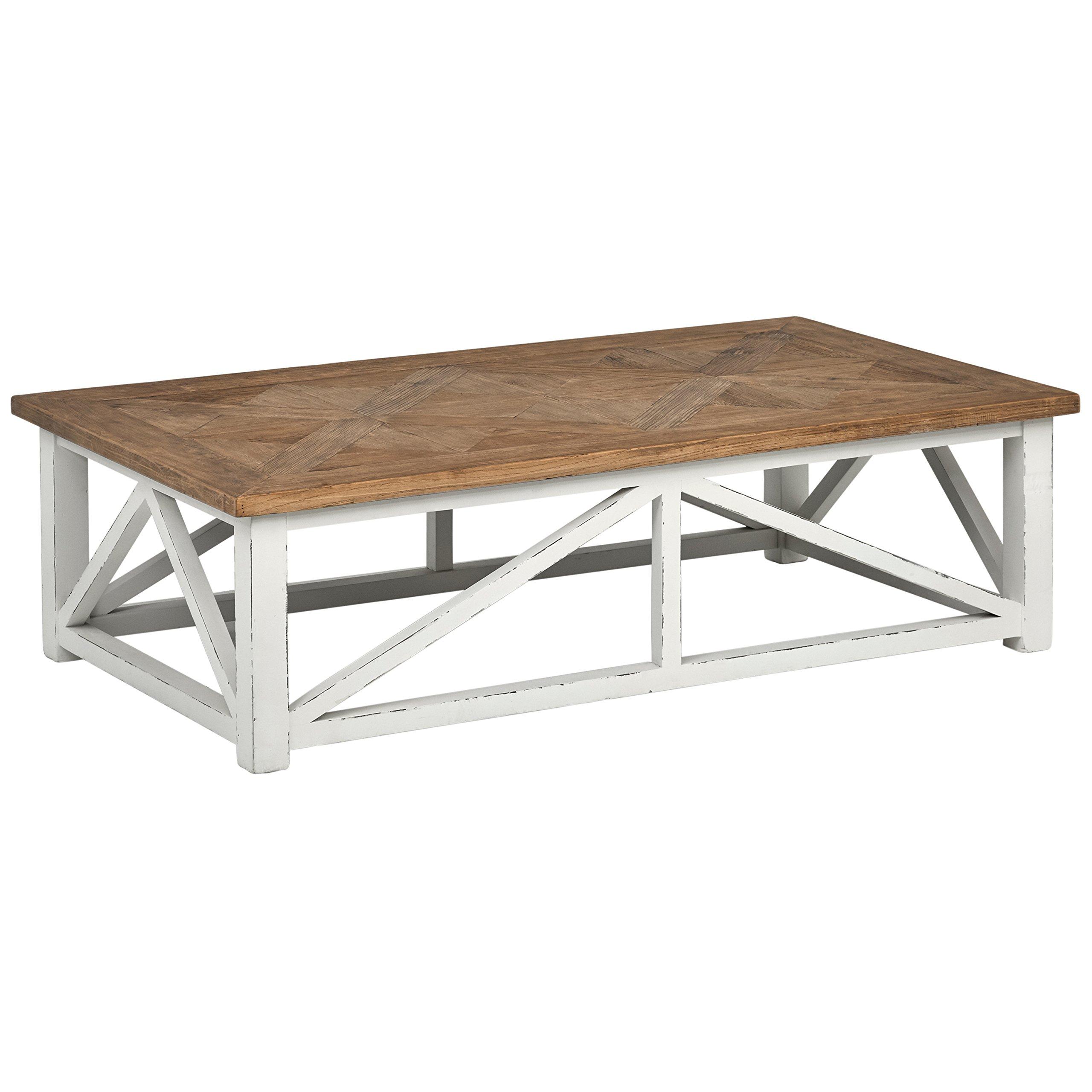 Stone Beam Coastal Breeze Rustic Farmhouse Coffee Table 55 1 W