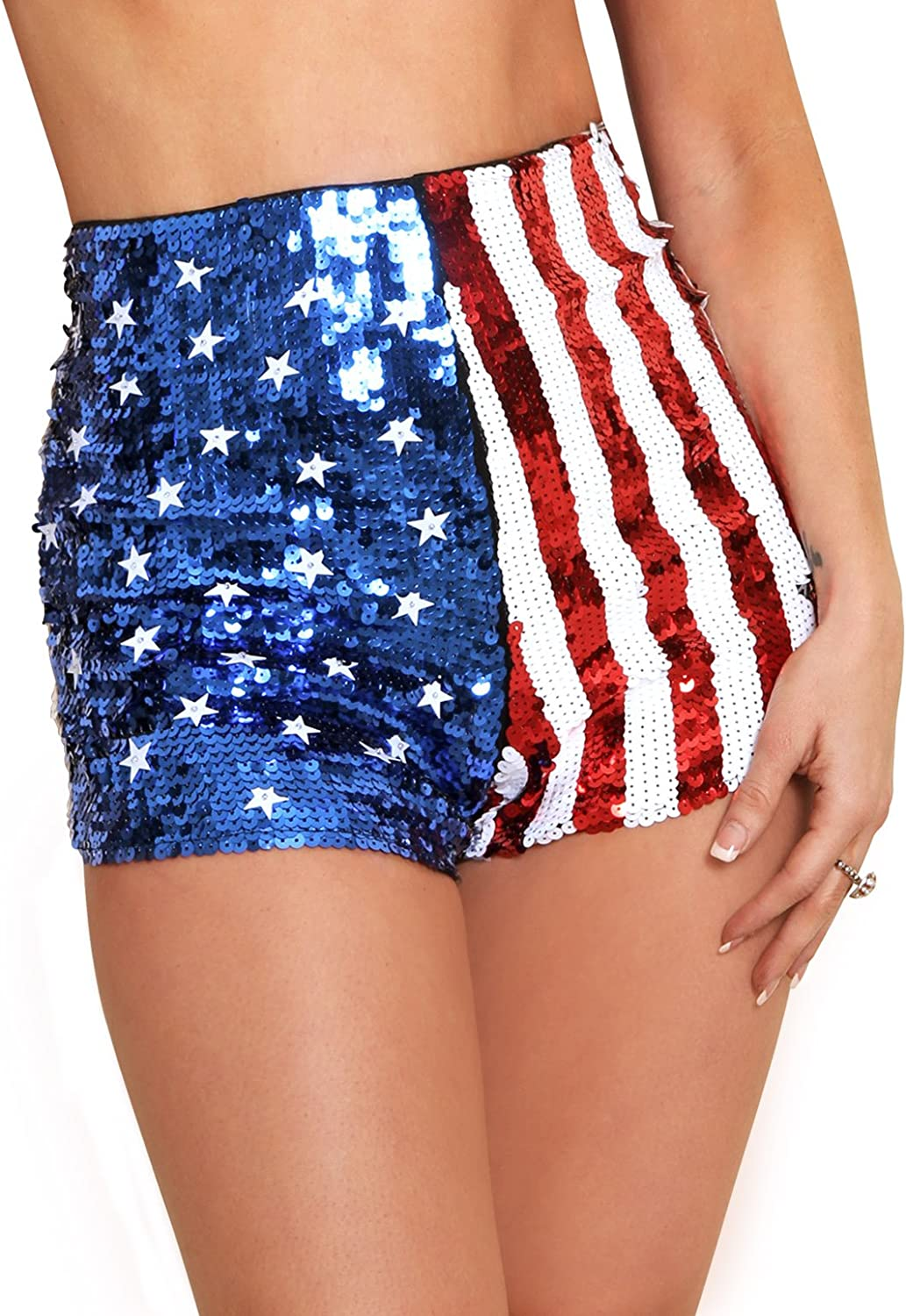 Fort Worth Ranking TOP2 Mall Arsimus USA Patriotic Star Sequins Shorts Stripes
