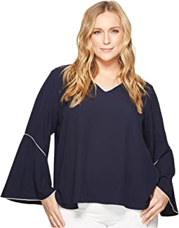 Plus Size V-Neck with Flare Sleeve Blouse