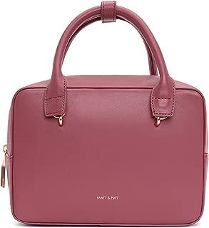 Matt & Nat Vegan Handbags, Taha Loom Satchel Bag, Rosewood - 100% Animal & Cruelty Free, Full 1 Year Warranty, 100% Recycled Linings, Eco-Friendly