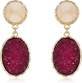 Druzy Stud Earrings Minimalist Stone Stunning Gold Plating Sparkly Drop Dangle Crystal Earrings Women Gift Fashion Jewelry
