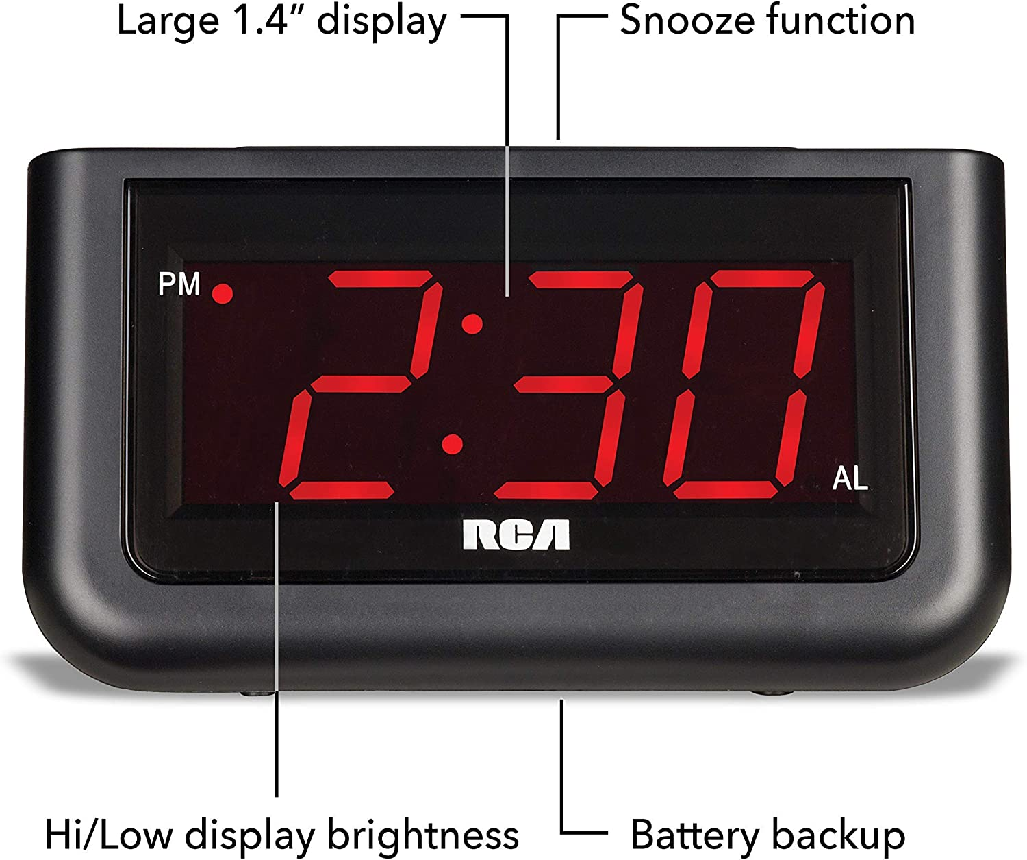 1.4-Inch Large LED Display with Brightness Control and Repeating Snooze Easy to Use Black Digital Alarm Clock