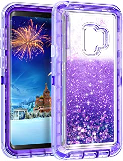 WOLLONY Galaxy S9 Case, 360 Full Body Shockproof Liquid Glitter Quicksand Bling Case Heavy Duty Phone Bumper Non-Slip Soft Clear Rubber Protective Cover for Samsung Galaxy S9 - Purple