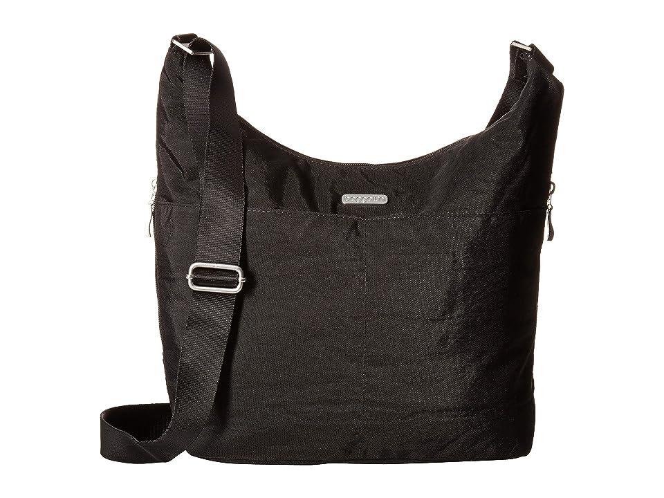 Baggallini Hobo Crossbody with RFID Wristlet (Black/Sand) Cross Body Handbags