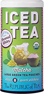 The Republic of Tea Organic Matcha Coconut Water Iced Tea Pouches, 8 Quarts / 8 Large Iced Tea Pouches