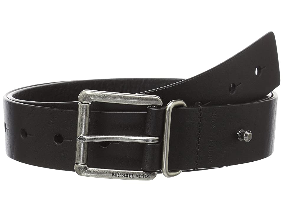 MICHAEL Michael Kors 38mm (1.5) Veg Leather Belt (Black) Women