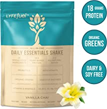 LYFE FUEL Meal Replacement Shake   Keto, Vegan & Gluten Free Plant Based Protein + Organic Superfood Greens   Vanilla Chai   18g Rice + Pea Protein   24 Meals