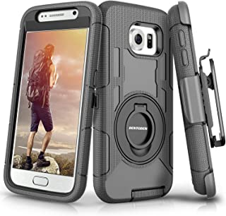 BENTOBEN Compatible with Samsung Galaxy S6 Case, Case for Samsung S6, Heavy Duty Kicstand Swivel Belt Clip Hybrid Shockproof Holster Protective Case for Galaxy S6,Black