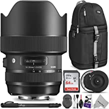 Sigma 14-24mm f/2.8 DG HSM Art Lens for Canon EF w/Sigma USB Dock & Advanced Photo and Travel Bundle