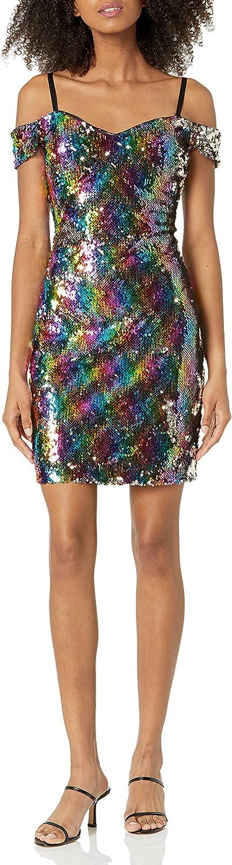 GUESS Women's Rainbow Sequin Off The Shoulder Dress