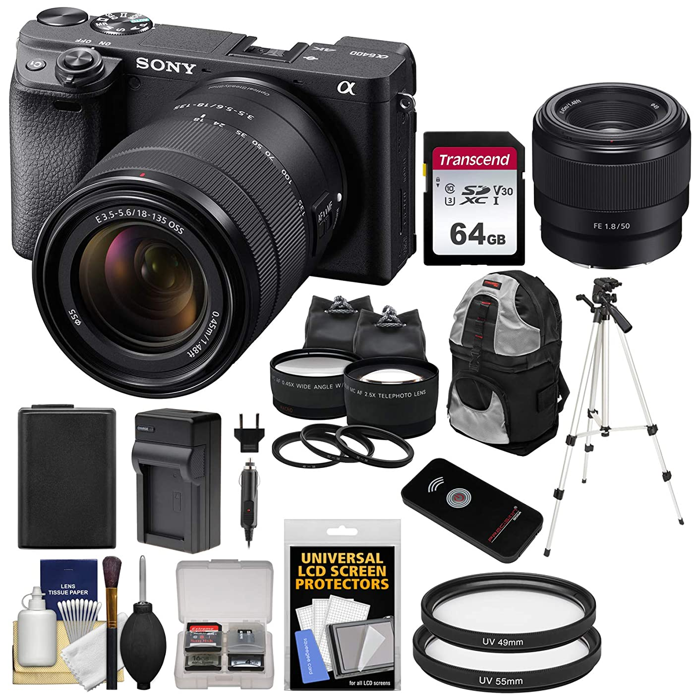 Sony Alpha A6400 4K Wi-Fi Digital Camera & 18-135mm & FE 50mm f/1.8 Lenses with 64GB Card + Battery + Charger + Backpack + Tripod + 2 Lens Kit