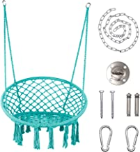 LAZZO Round Hammock Chair with Hanging kit, Hanging Knitted Mesh Cotton Rope Macrame Swing, 260 Pounds Capacity, 23.6