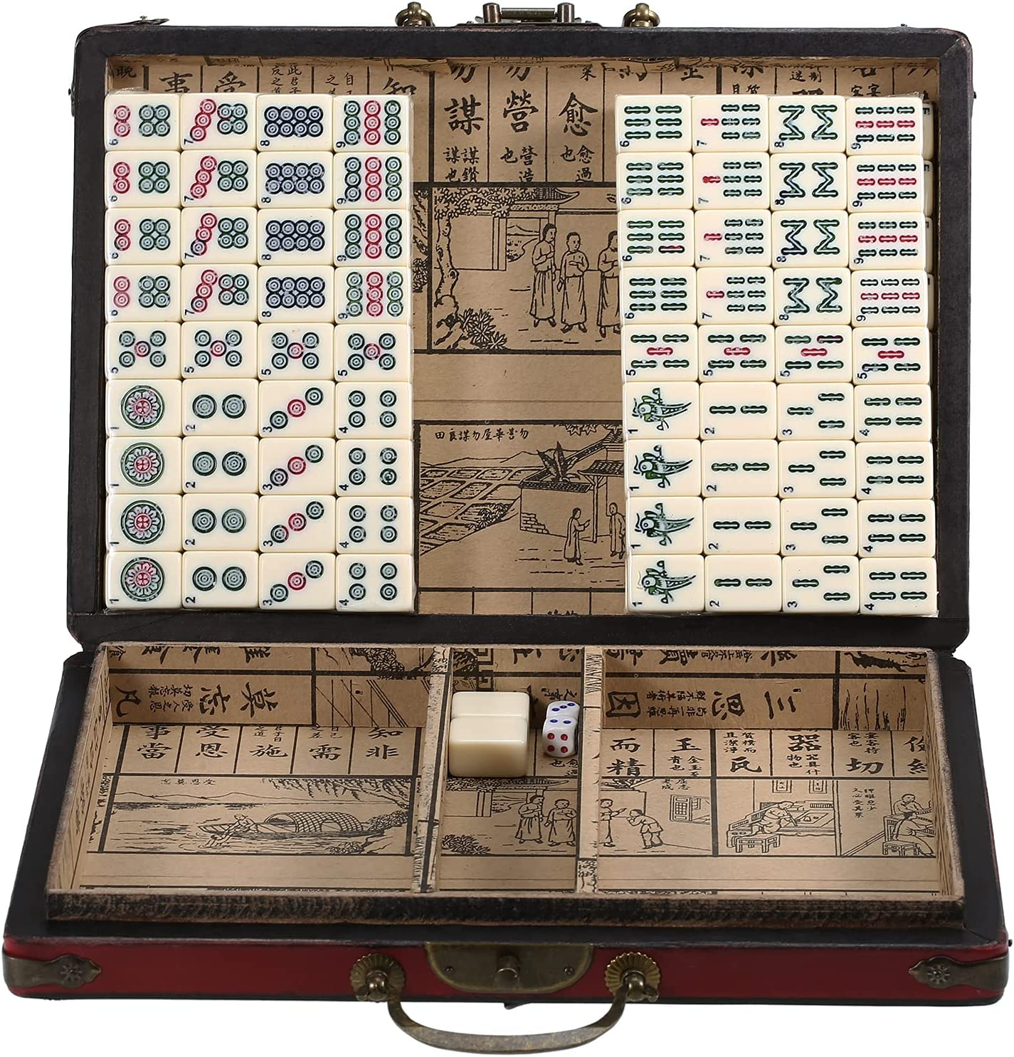 Galapare Mini 55% OFF Chinese Mahjong online shop Set Case with Storage Wooden Porta