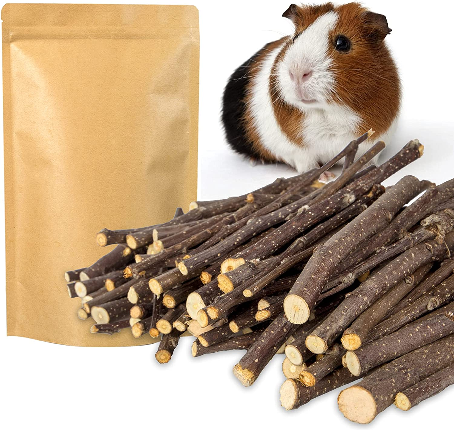 QUTOP 300g Natural Apple Sticks for Rabbits Chinchillas Help The Healthy Growth of Teeth, Apple Wood Treats Sticks for Small Animals, Wooden Chew Stick Snack Toys