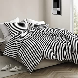 Byourbed Onyx Black and White Striped - Oversized King Comforter - 100% Cotton Bedding