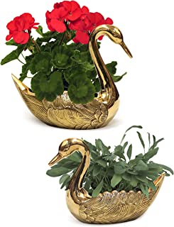 Solid Brass Swan Pair Plant Pots - Flower Pot Containers Great for Plant Stands Succulent Plants - Indoor/Outdoor Animals Garden Decor Gold Bird Planters Set