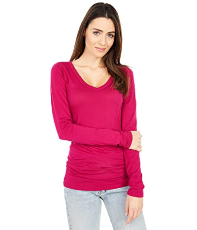 LAmade Fitted V-Neck Tee (Deep Red) Women