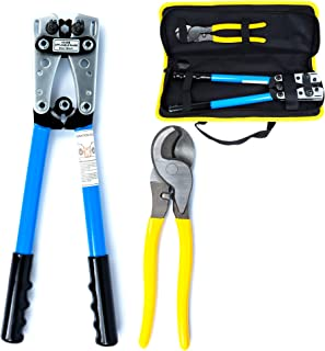 Battery Cable Lug Crimper Tool 6-50mm², Wire Crimping Tool, Hand Electrician Pliers for Crimping Wire Cable with Cable Cutter for 10,8,6,4,2 and 1/0 AWG Wire Cable Cutting and Crimper with Storage Bag