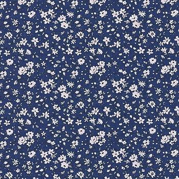 Tela de algodón estampada - La fleur de la liberté - tela floral - flores blancas sobre un fondo azul marino - 100% algodón suave | ancho: 160 cm (por metro lineal)*: Amazon.es: Hogar