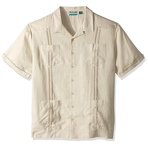 02bd4364fe8 Cubavera Men's Short Sleeve 100% Linen Cuban Camp Guayabera Shirt