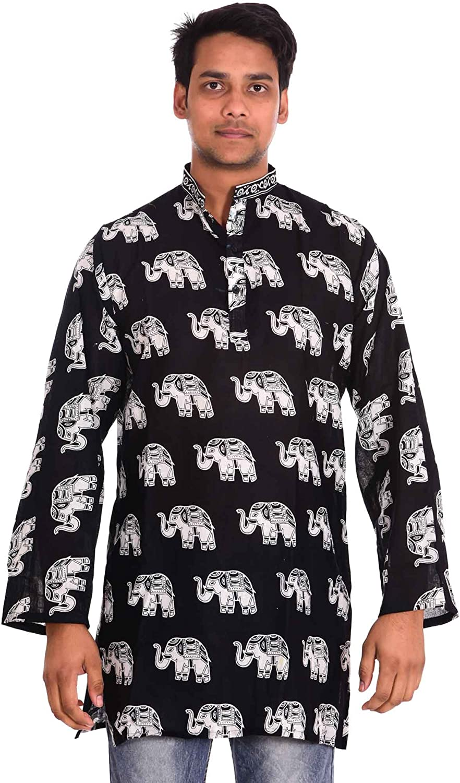 Lakkar Haveli Men's Indian 100% Cotton Loose Fit Shirt Kurta Tunic Black Elephant Print Big Tall