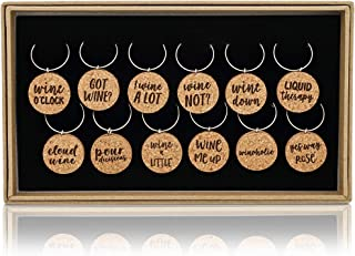 Juvale 12-Piece Set 1-Inch Ring Cork Charms for Wine Glasses with Fun Sayings, 12 Designs