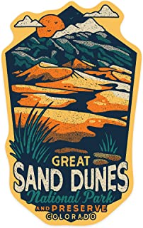 Great Sand Dunes National Park and Preserve, Colorado - Distressed Vector - Contour 101098 (Vinyl Die-Cut Sticker, Indoor/Outdoor, Small)