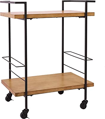 Bar Cart with 2 Wood Shelves, Durable Wine Cart with Casters, Suitable for Kitchen, Club, Living Room, Antique Black Finish