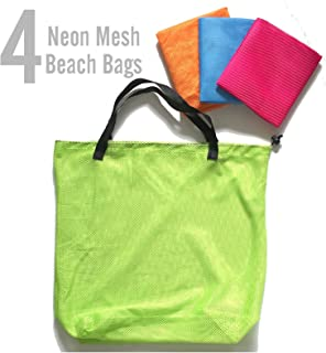 AZi 4 Neon Mesh Tote Bags for Beach Shopping Travel Pool - Fits Most Beach Must Haves, Kids Sand Toys - Pink, Blue, Orange & Green
