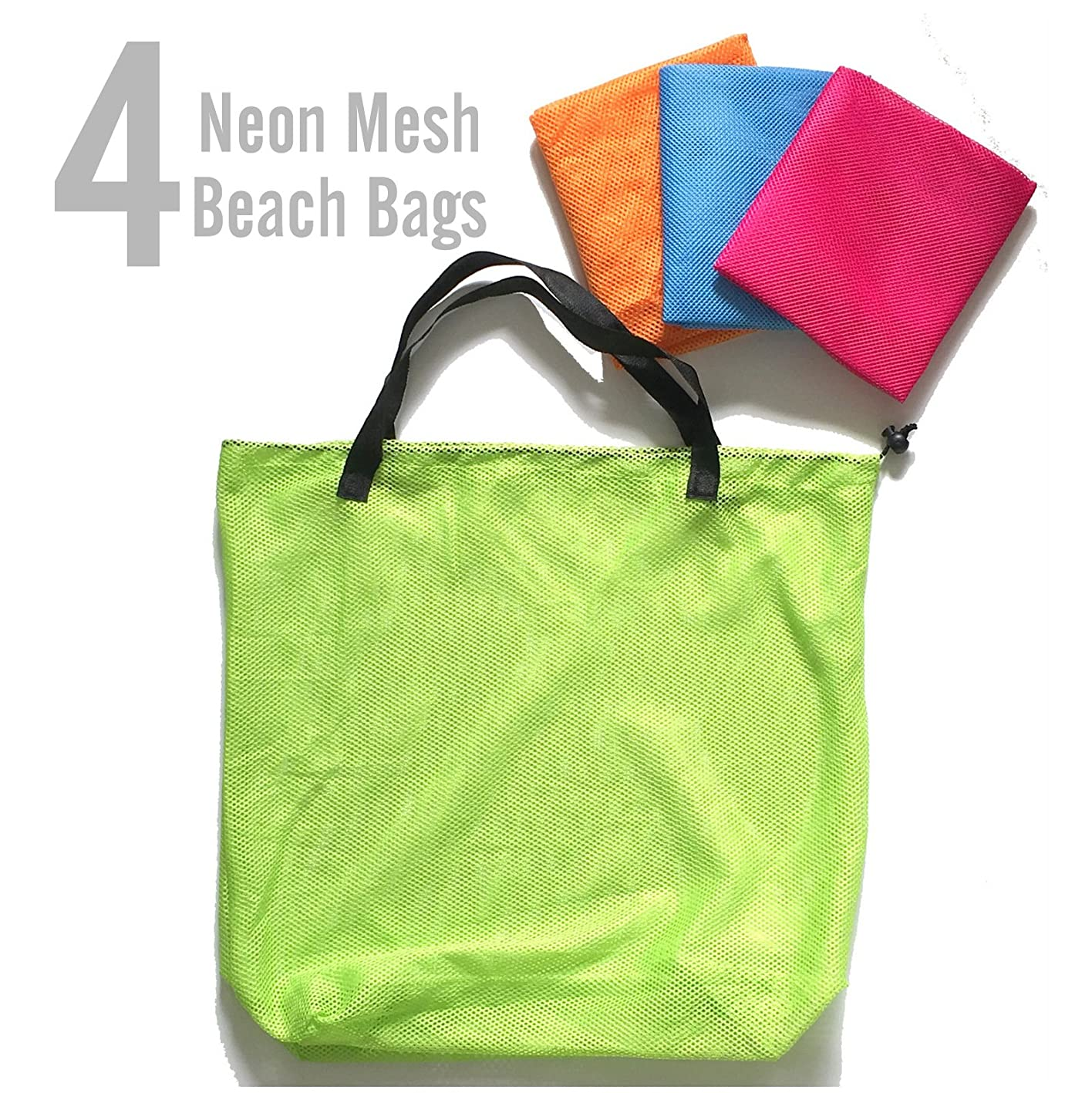 Azi 4 Neon Mesh Tote Bags For Beach Shopping Travel Pool - Fits Most Beach Must Haves, Kids Sand Toys - Pink, Blue, Orange & Green kjtonwwgnsp962