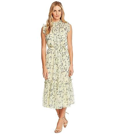 CeCe Sleeveless Wisteria Vines Ruffled Midi Dress (Lemonade) Women