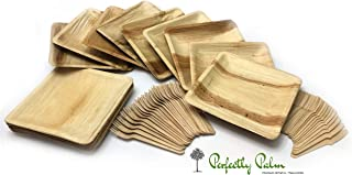 Disposable Palm Leaf Dinnerware and Utensil Set by Perfectly Palm | Rustic Eco Friendly Compostable Square Plates & Wooden Utensil Party Pack