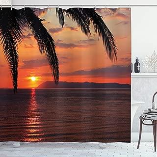 Ambesonne Tropical Shower Curtain, Sunrise on Sea Palm Trees Exotic Holiday Honeymoon Romantic Beach Morning Scene, Cloth Fabric Bathroom Decor Set with Hooks, 75
