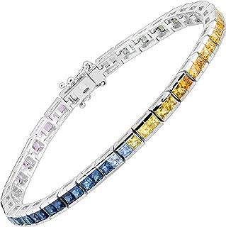 7 1/6 ct Rainbow Natural Sapphire Princess-Cut Tennis Bracelet in Rhodium-Plated 14K White Gold