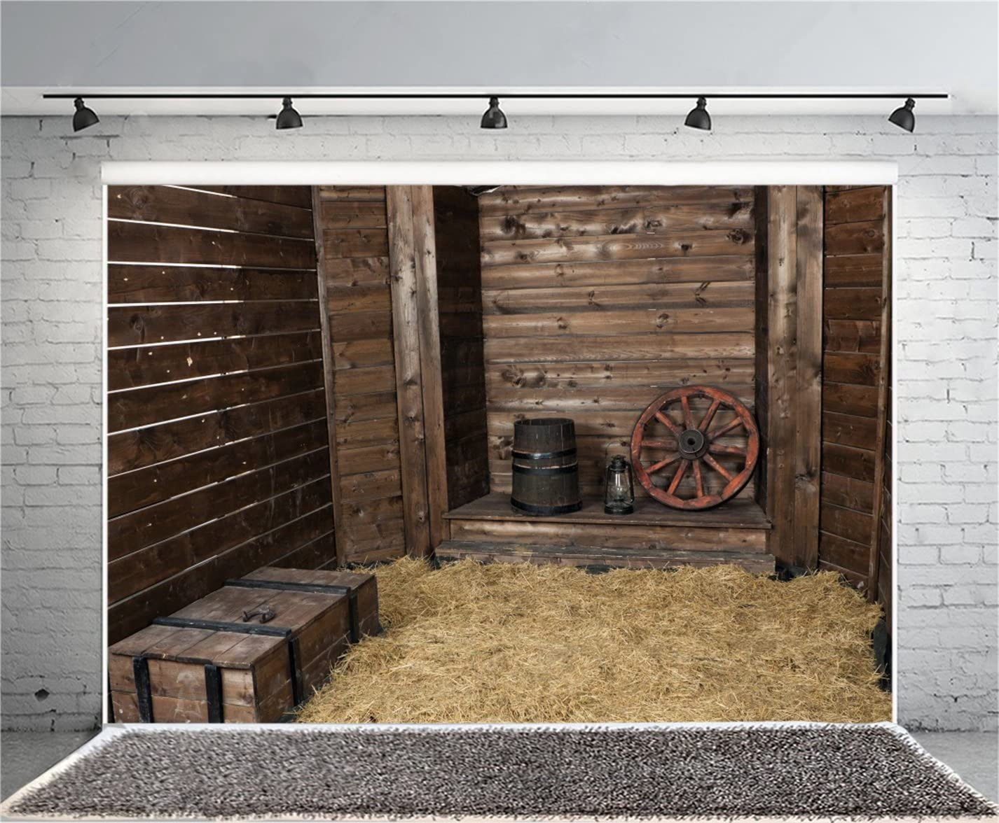 AOFOTO 6x4ft Wooden Hayloft Interior Background Vintage Rustic Western Barn Photography Backdrop Hay Straw Bales Old Wheel Hub Photo Studio Props Kid Artistic Portrait Vinyl Wallpaper