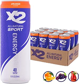 X2 All Natural Sport Hydrating Energy Drink: Great Tasting Non-Carbonated Sports Energy Drinks with Coconut Water – 9 Grams of Sugar, 40 Calories - No Artificial Ingredients - Orange - Pack of 12