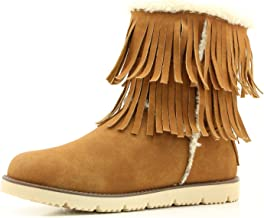 DailyShoes Women's Comfort 2-Layer Round Toe Flat Fringe Eskimo Moccasin Winter Snow Ankle High Boots