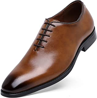 DOLCARA Men's Genuine Leather Oxford Dress Shoes for Men Classic Formal Business lace up Mens Dress Shoes