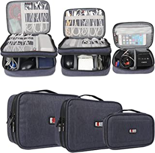 BUBM 3pcs Electronic Travel Organizer, Gear Carry Bag for Cables, Cord, USB Flash Drive, Battery and More, Compact and Multi-Purpose,Dark Blue