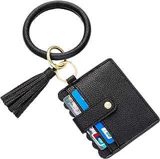 K T One Wristlet Bracelet Wallet Tassel Keychain Credit Card Holder Leather Bangle Key Ring for Women Girls