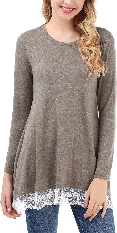 Uniboutique Women's Lace Long Sleeve ALine Scoop Neck Tunic Top Blouse Shirt