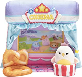 Squishville Mini-Squishmallows Cinema Playset - Includes One 2-Inch Mini Plush, One Pretzel Chair, One Popcorn Bucket - Ir...