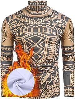 Men Tattoo Tribal Inspired Print Fit Turtleneck Christmas Casual T-Shirt S-XXL