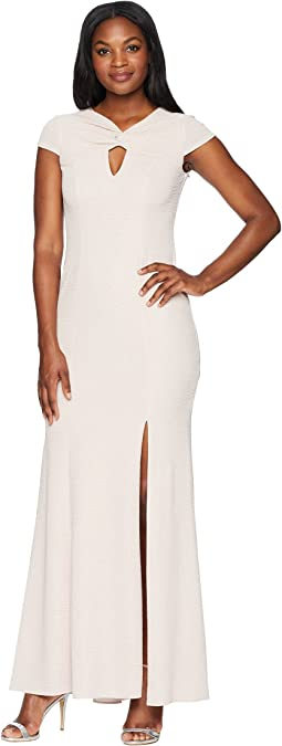 Twist Neck Long Stretch Crepe Gown
