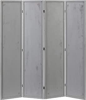 MyGift 4 Panel Vintage Distressed Ash Grey Wood Room Divider