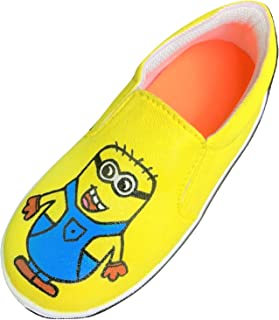 FUNKY N TRENDY Minion Yellow Hand Painted Waterproof Women's Canvas Casual Shoes